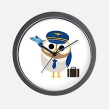 Owl Airplane Pilot Wall Clock