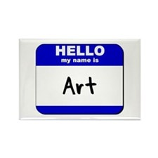 hello my name is art Rectangle Magnet