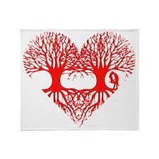 valentine's day tree heart love root Throw Blanket