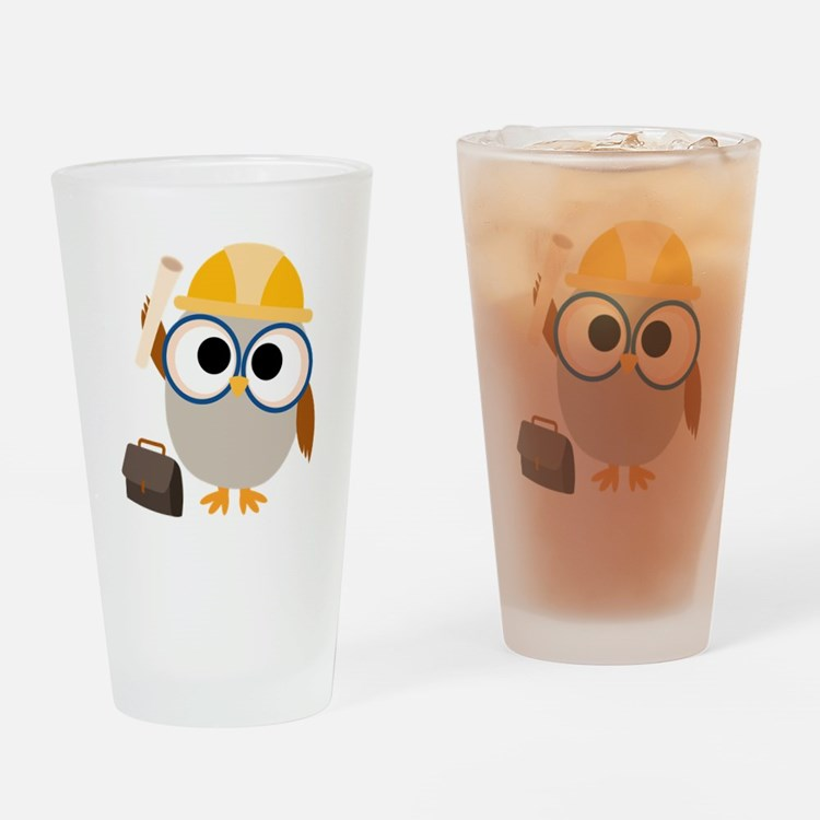 Construction Worker Owl Drinking Glass