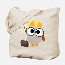 Construction Worker Owl Tote Bag