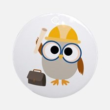 Construction Worker Owl Ornament (Round)