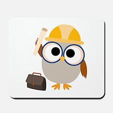 Construction Worker Owl Mousepad