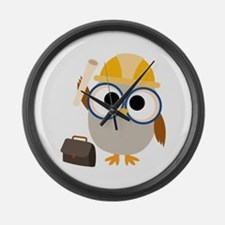 Construction Worker Owl Large Wall Clock