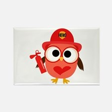 Owl Firefighter Rectangle Magnet