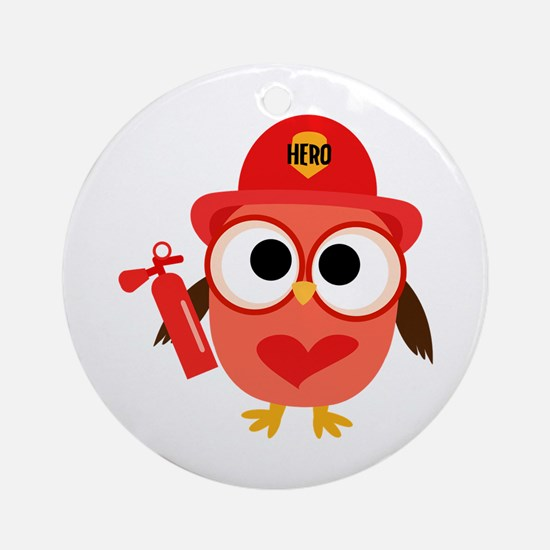 Owl Firefighter Ornament (Round)