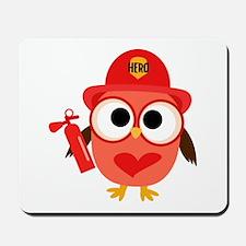 Owl Firefighter Mousepad