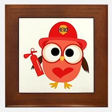 Owl Firefighter Framed Tile