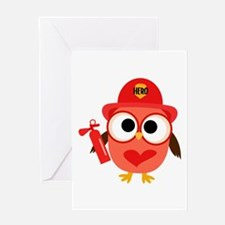 Owl Firefighter Greeting Card