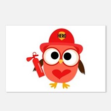 Owl Firefighter Postcards (Package of 8)