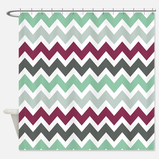 wild cranberry zigzags Shower Curtain