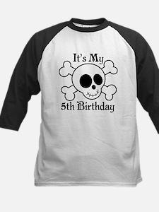 5th Birthday Pirate Skull Kids Baseball Jersey