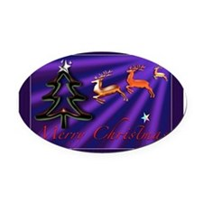 Merry Christmas Blue Oval Car Magnet