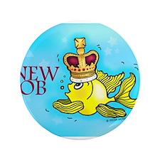 "New Job cute fish crown 3.5"" Button"