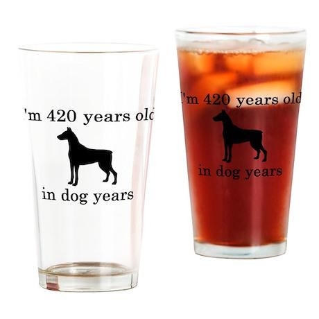 60 birthday dog years doberman Drinking Glass