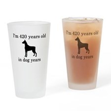 60 birthday dog years doberman Drinking Glass