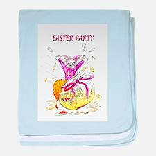 Honey Bunny Easter Party invitation baby blanket