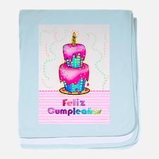Birthday Cake feliz cumpleanos baby blanket