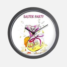Honey Bunny Easter Party invitation Wall Clock