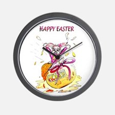 Honey Bunny Happy Easter Wall Clock