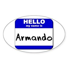 hello my name is armando Oval Decal