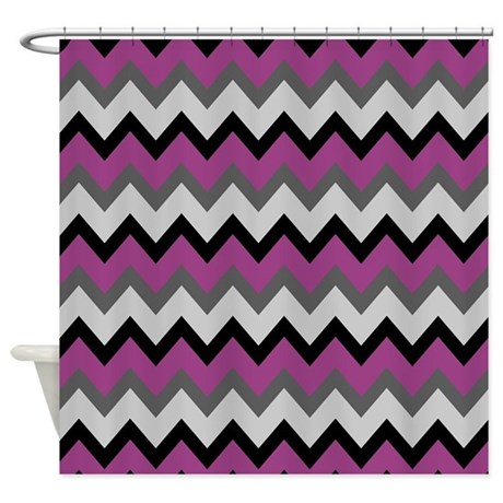 Purple And Gray Zigzags Shower Curtain By ShowerCurtainsWorld