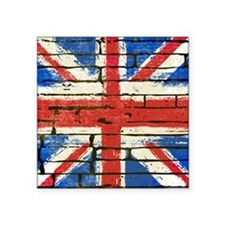 "Grunge British Flag Square Sticker 3"" x 3"""