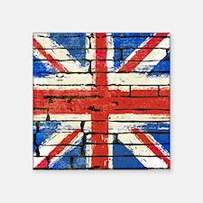 """Grunge British Flag Square Sticker 3"""" x 3"""""""