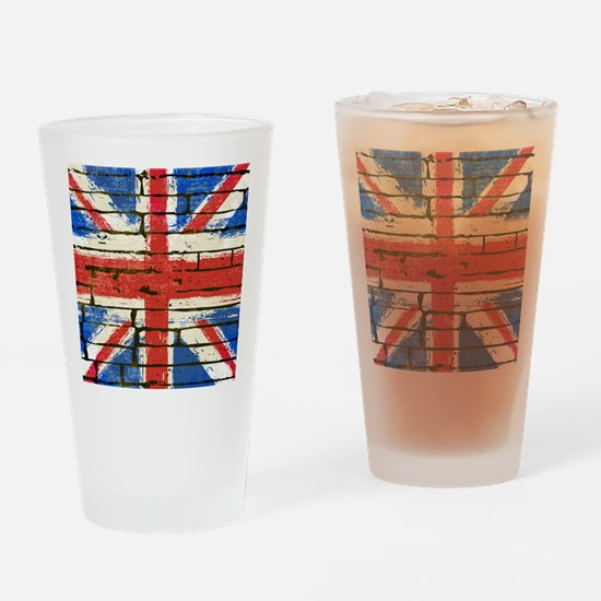Grunge British Flag Drinking Glass