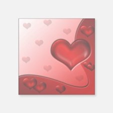 Square Sticker 3&Quot; X 3&Quot; Hearts Red 1