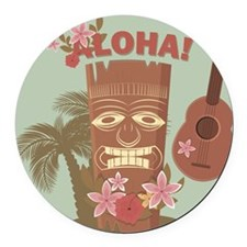Vintage Hawaiian Round Car Magnet