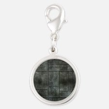 Industrial Grey Metal Silver Round Charm