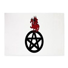 Red Dragon On Pentacle 5'X7'area Rug