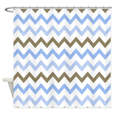 blue and brown and white zigzags shower curtain by