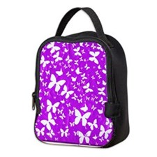 PURPLE BUTTERFLY ON QUILT Neoprene Lunch Bag