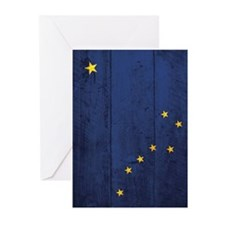 Wooden Alaska Flag2 Greeting Cards