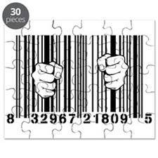Captured By Consumerism UPC Barcode Prison Puzzle
