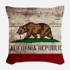 Wooden California Flag3 Woven Throw Pillow