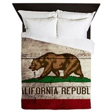 Wooden California Flag3 Queen Duvet