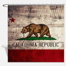 Wooden California Flag3 Shower Curtain