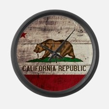 Wooden California Flag3 Large Wall Clock