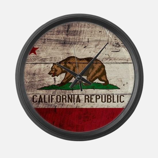 Wooden California Flag3 Large Wall Clock