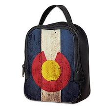 Wooden Colorado Flag2 Neoprene Lunch Bag
