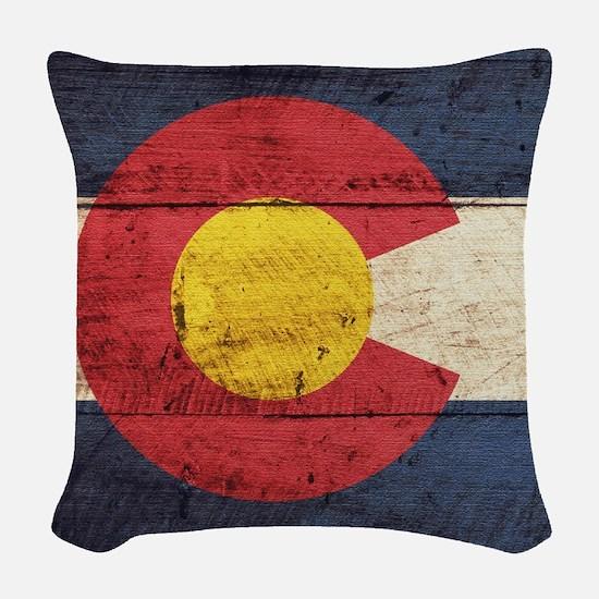 Wooden Colorado Flag3 Woven Throw Pillow
