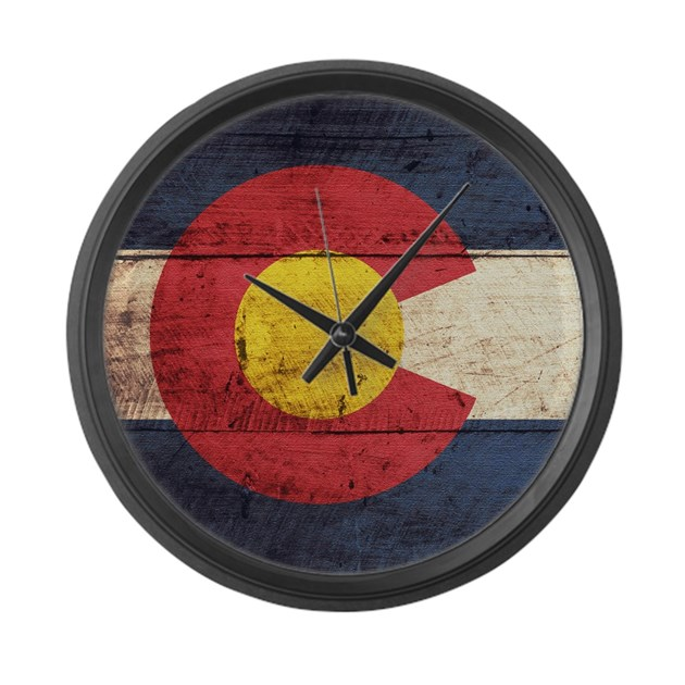 Wooden colorado flag3 large wall clock by clipartmegamart for Large wooden wall clocks australia