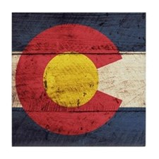 Wooden Colorado Flag3 Tile Coaster