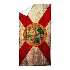Wooden Florida Flag1 Beach Towel