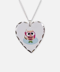 Owl Hockey Chick Necklace Heart Charm