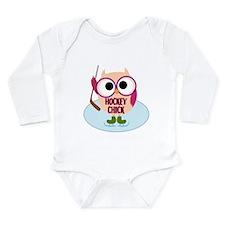 Owl Hockey Chick Long Sleeve Infant Bodysuit