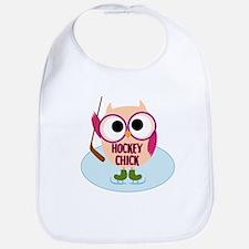 Owl Hockey Chick Bib